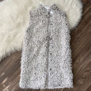 Love Token Faux Fur Longline Gray Vest